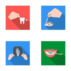 Examination of the tooth, instillation of the eye and other web icon in flat style. A snapshot of the hand, teeth cleaning icons in set collection.