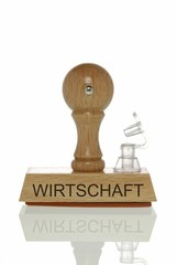 "Stamp with the word ""Wirtschaft"", economy with an open valve, symbolic image for the economy running out of air"
