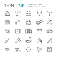 Collection of construction thin line icons