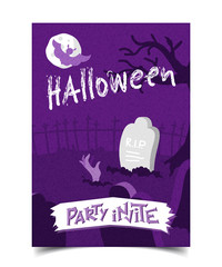 Halloween party invite flyer a5 vector illustration