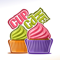 Vector logo for fruit Cupcake, original font for text - cupcake, 2 mini cakes in colorful case decorated frosting berry buttercream, delight cupcakes for wedding or birthday with swirl whipped cream.