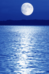 Composing, moon over Lake Chiemsee, Bavaria, Germany, Europe