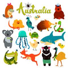 Cute animals collection, baby animals. Australian animals. Spider, parrot, wombat, lizard, jellyfish, shark, crocodile, koala, kangaroo, platypus, turtle, tasmanian devil, snake, birds.