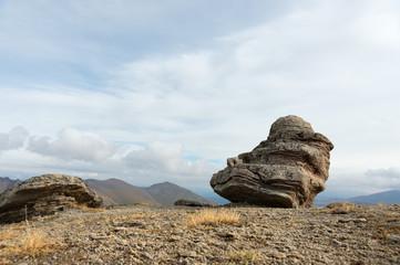 Stone mushrooms on Mount Elbrus in the northern Caucasus.