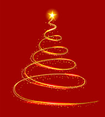Yellow light christmas tree on red background