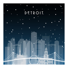Winter night in Detroit. Night city in flat style for banner, poster, illustration, game, background.
