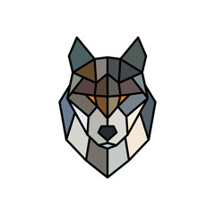 Head of a Wolf. Logo template. Abstract mascot. Colorful polygonal style. Vector illustration.