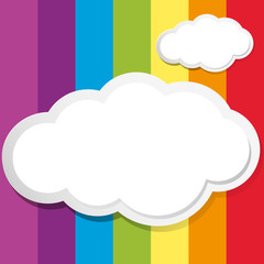 White clouds on rainbow background