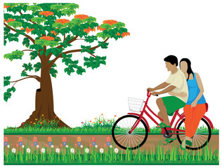 one man and lady on bicycle at park in city vector design
