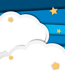Background design with clouds and stars