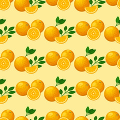 Oranges seamless pattern background illustration natural citrus fruit vector juicy tropical dessert beauty organic juice healthy food.