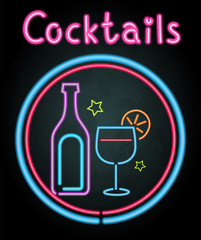 Neon light design for cocktails