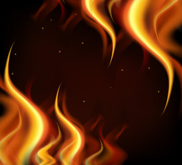 Background design with hot flames on black background