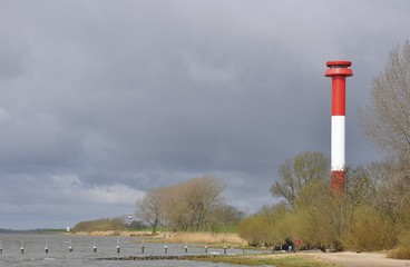 Kollmar lighthouse on the Elbe river, Schleswig-Holstein Germany, Europe