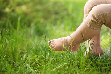 Little child and green grass in park
