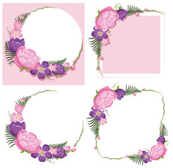 Four frame designs with pink and purple flowers