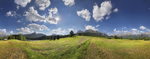 360 panoramic view of Pocol near Cortina d'Ampezzo, Dolomites, Italy, Europe