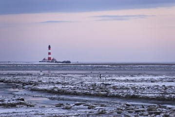 Lighthouse of Westerhever in winter, St. Peter-Ording, Eiderstedt Peninsula, district of Nordfriesland, Schleswig-Holstein, Germany, Europe