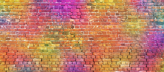 Foto op Canvas Graffiti painted brick wall, abstract background of different colors