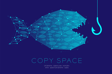 Network Marketing Online set Advertising with fishing rod and shoal or school of small fish concept idea illustration isolated on dark blue background, with copy space
