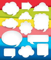 Different design for speech bubbles on rainbow background