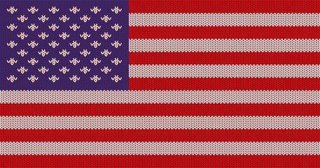 Вязанный флаг США. Оригинальная, абстрактная, текстурная векторная иллюстрация.