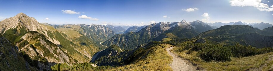 Panoramic view at Plumsjochsattel, view of Lake Achensee, Karwendel, Austria, Europe