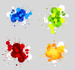 Four designs of acrylic splashes in four colors