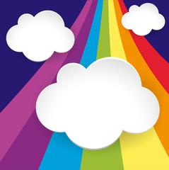 Three cloud templates on rainbow background
