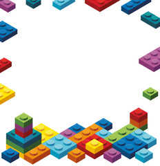 Border template with colorful toy blocks