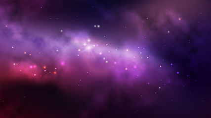 Space background with colorful nebula and bright stars.