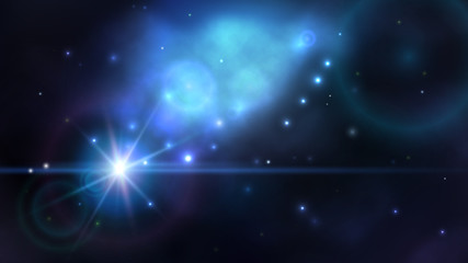 Space background with dark blue nebula and bright stars. Fantasy scientific astronomical illustration.