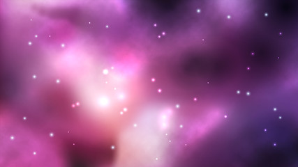 Space background with nebula and bright stars. Fantasy scientific astronomical illustration.