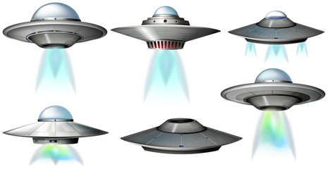 Different designs of UFO flying