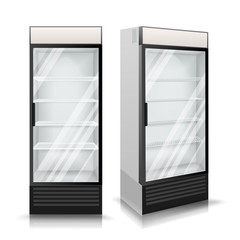 Realistic Refrigerator Vector. Cooling Drinks. Isolated Illustration