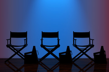 Director Chairs, Movie Clappers and Megaphones with Blue Backlight in front of Wall. 3d Rendering
