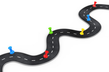 Winding Road with Colorful Pin Pointer. 3d Rendering