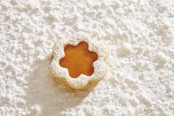 Short pastry jam biscuit, on icing sugar