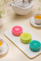 Delicious Chinese Traditional Snack Mooncake on the Table.