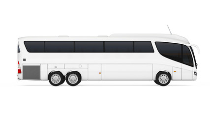 Big White Coach Tour Bus with Blank Surface for Yours Design. 3d Rendering