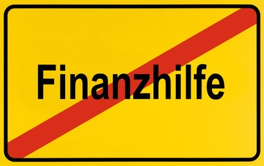 City limits sign, symbolic image, end of financial aids