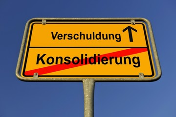 City limit sign, symbolic image for the way from a Konsolidierung to Schulden, German for going from a consolidation to having debts