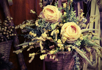 floral decoration with white roses in vintage style