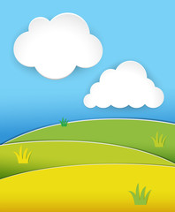 Green hills at daytime with blue sky