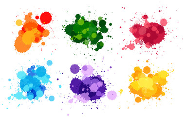Watercolor splashes in six colors