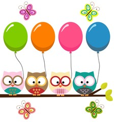 Four colorful owls with balloons sitting on the branch and flying butterflies on a white background