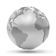 stylized silvery Earth showing Africa, Europe, North America and South America