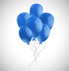 Lots of blue balloons on white background