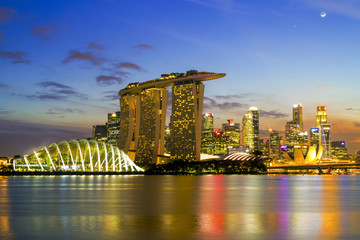 SINGAPORE CITY, SINGAPORE: Sep 29,2017: Singapore Skyline. Singapore`s business district, marina bay sand and the garden by the bay on sunset.