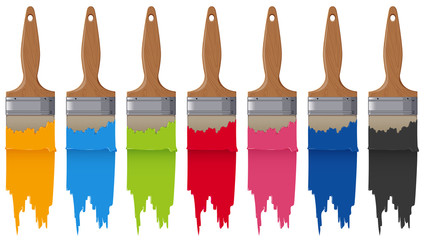 Paintbrushes and seven different colors